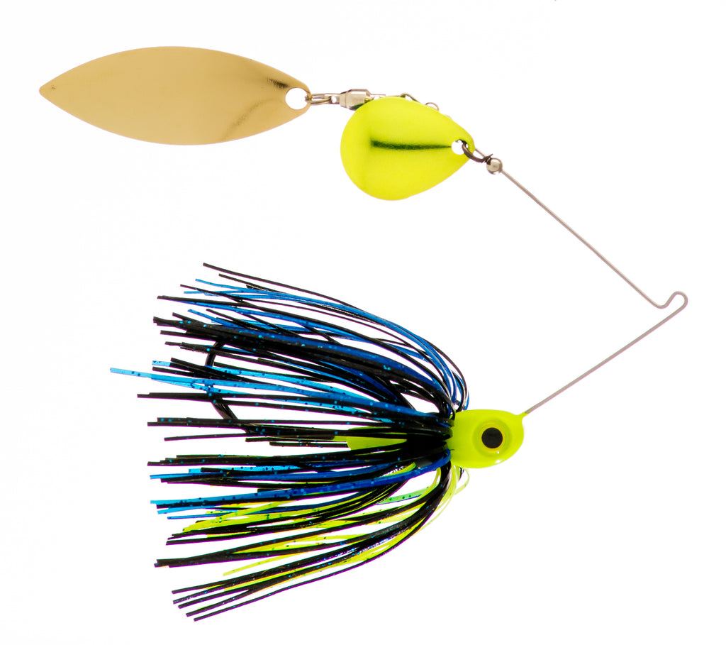 1/2 oz  Black / Blue / Chartreuse Spinner Baits