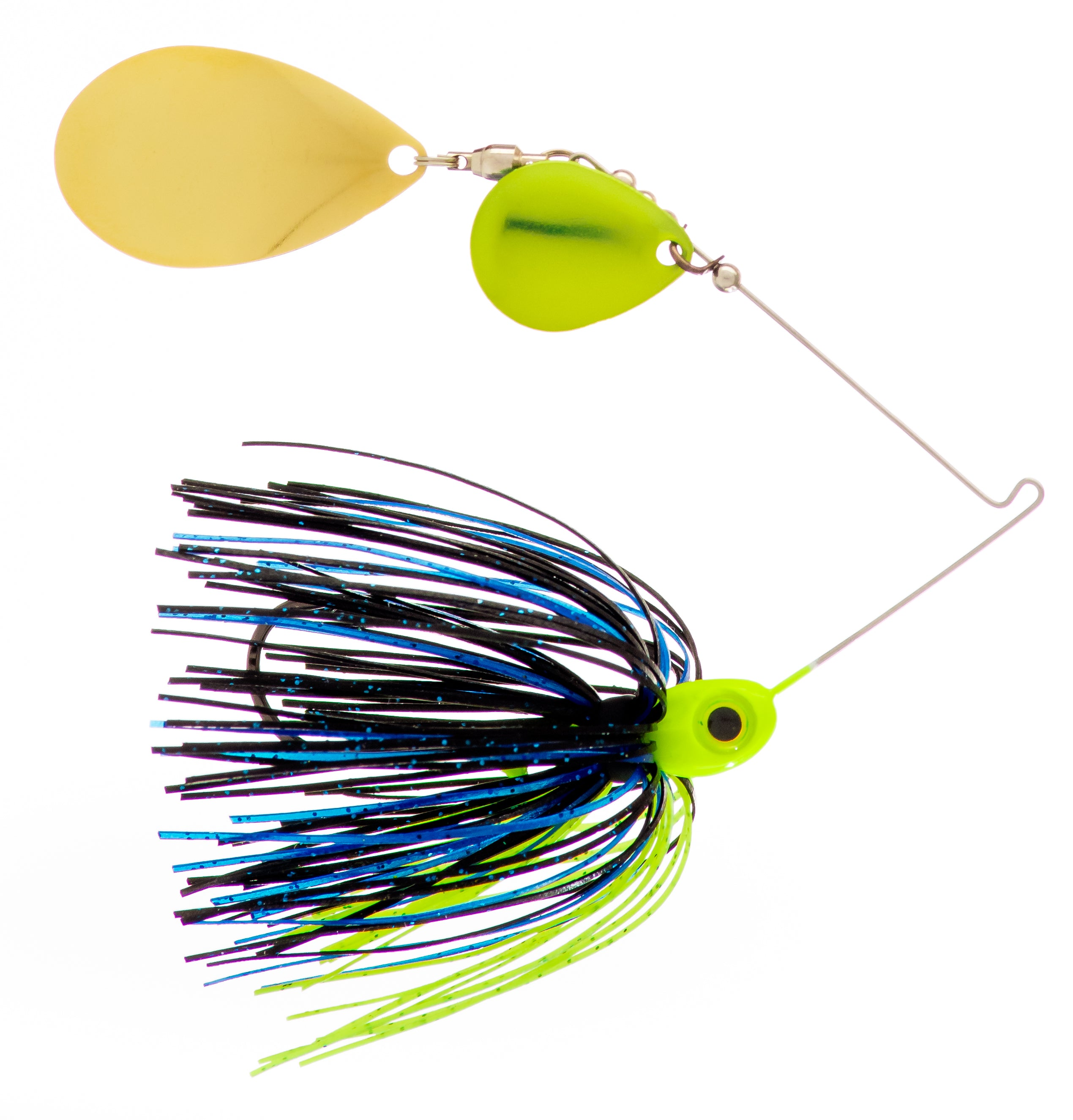 1/2 oz  Black / Blue / Chartreuse Spinner Baits - Kajun Boss Outdoors