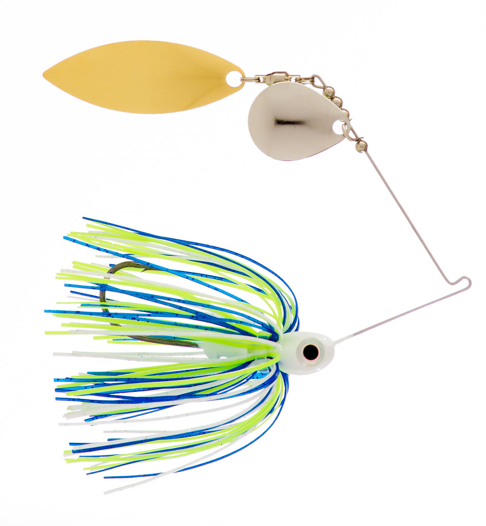 3/8 oz Blue / White / Chartreuse Spinner Baits