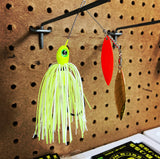 1/4 oz  White / Chartreuse Orange Blade Spinner Baits - Kajun Boss Outdoors