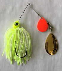 3/8 oz  White / Chartreuse Orange Blade Spinner Baits