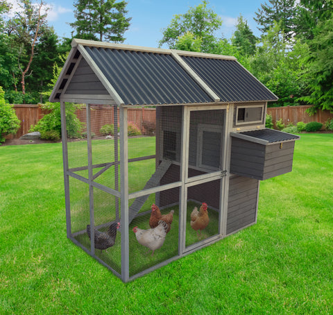 "Coops & Feathers® Large Walk-In Hen Coop Up With PVC Roof 77"" x 45"" x 71"" (SKU 220-05PVC)"