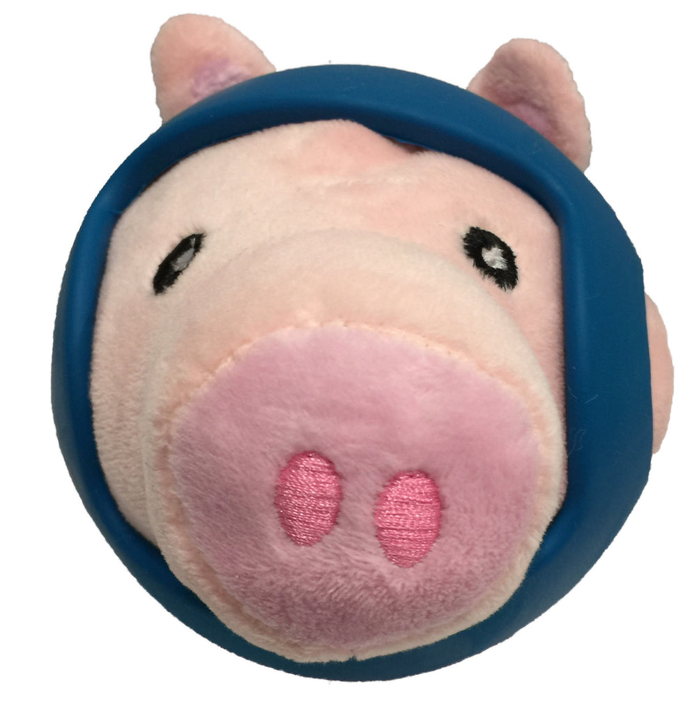 Helmet Head Ball PIG Plush Dog Toy w/TPR Helmet item #430-01