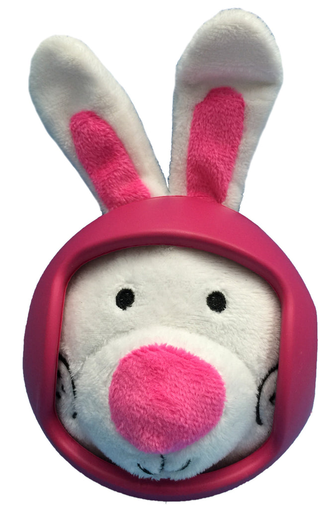 Helmet Head Ball RABBIT Plush Dog Toy w/TPR Helmet item #430-05