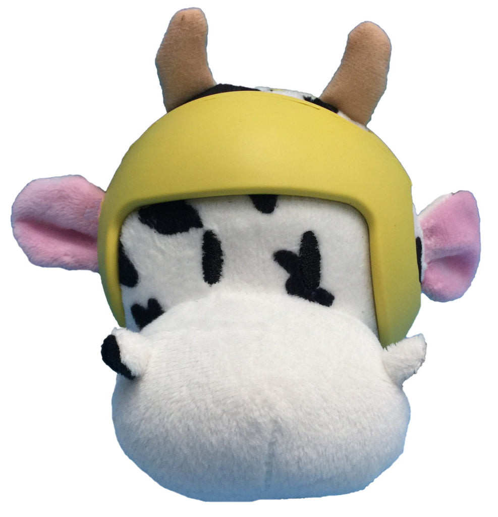 Helmet Head Ball COW Plush Dog Toy w/TPR Helmet item #430-03