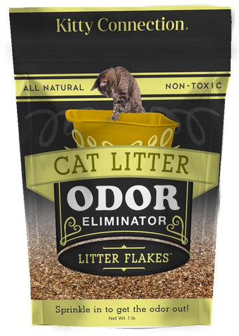 "Kitty Connection® Litter Flakes 1lb ""Spinkle in to get the Odor Out™"" All Natural Odor Eliminator"