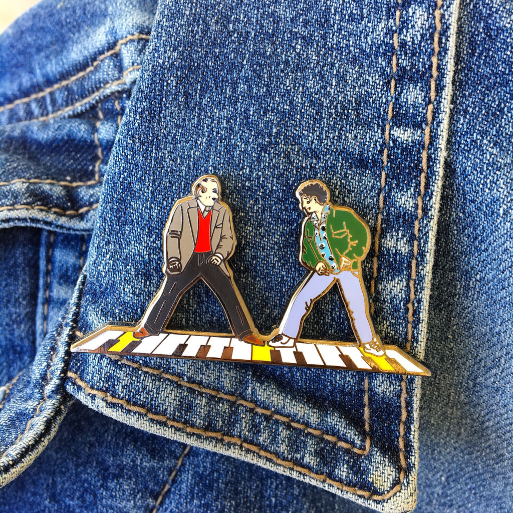 Big Piano Chopsticks Lapel Pin
