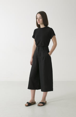 HEMP LINEN CROP WIDE LEG PANT