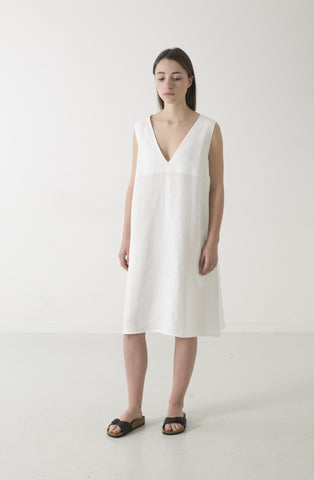 WOMENS HEMP LINEN V DRESS