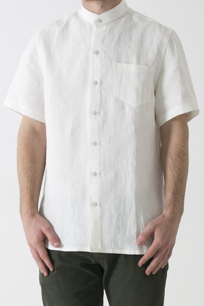 MENS HEMP LINEN MANDARIN COLLAR SHORT SLEEVE SHIRT