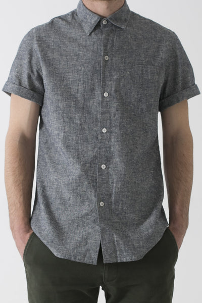 MENS HEMP LINEN CLASSIC COLLAR SHORT SLEEVE SHIRT