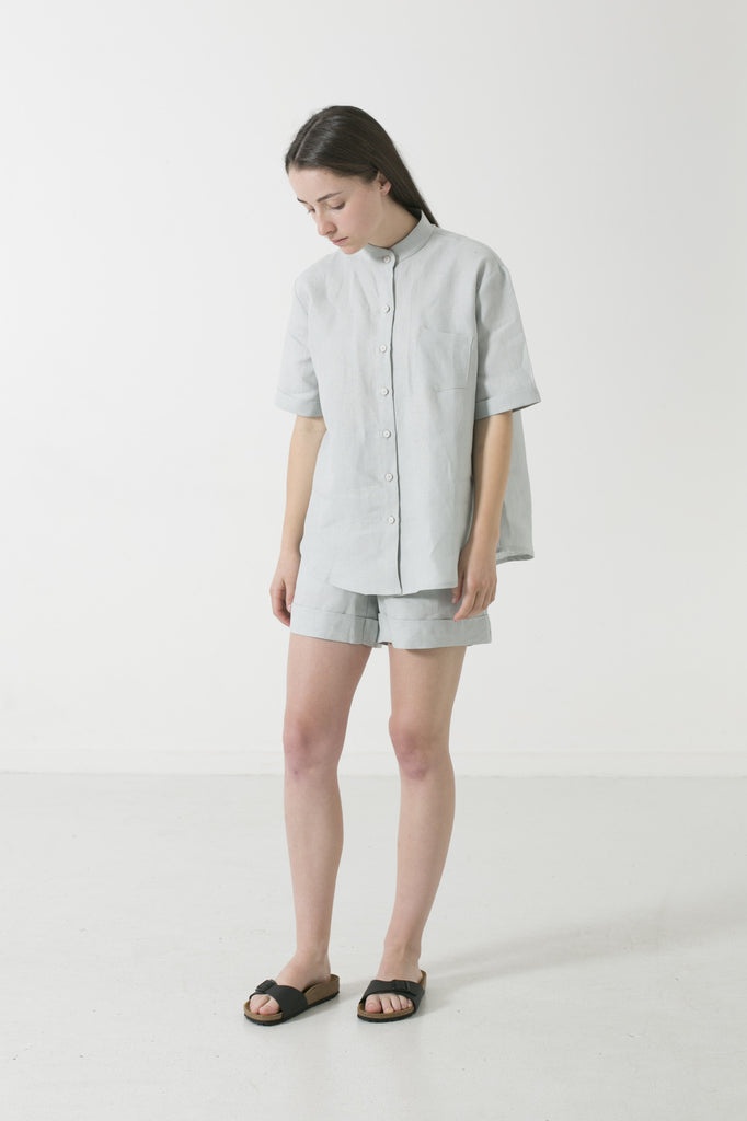 HEMP LINEN MANDARIN COLLAR SHORT SLEEVE SHIRT