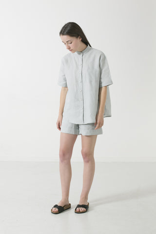 WOMENS MANDARIN COLLAR SHORT SLEEVE SHIRT