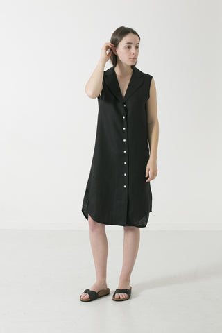 HEMP LINEN LAPEL SLEEVELESS SHIRTDRESS