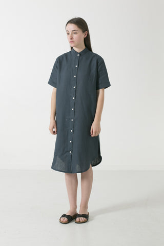 HEMP LINEN MANDARIN COLLAR SHORT SLEEVE SHIRTDRESS