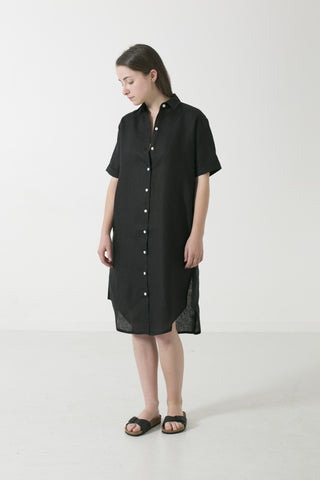 HEMP CLASSIC COLLAR SHORT SLEEVE SHIRTDRESS