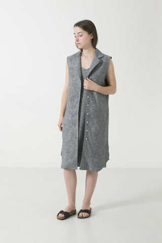 WOMENS LAPEL COLLAR SLEEVELESS SHIRTDRESS
