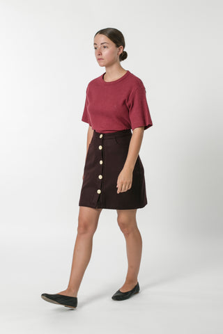 AUSTRALIAN WOOL MELTON BUTTON SKIRT