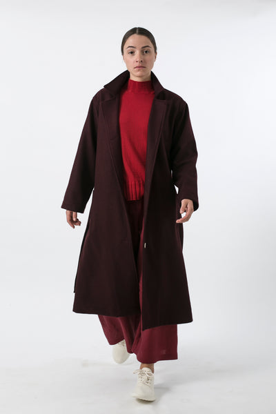 AUSTRALIAN WOOL MELTON TRENCH BURGUNDY