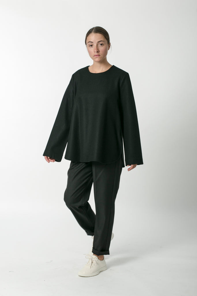 AUSTRALIAN WOOL MELTON SMOCK TOP