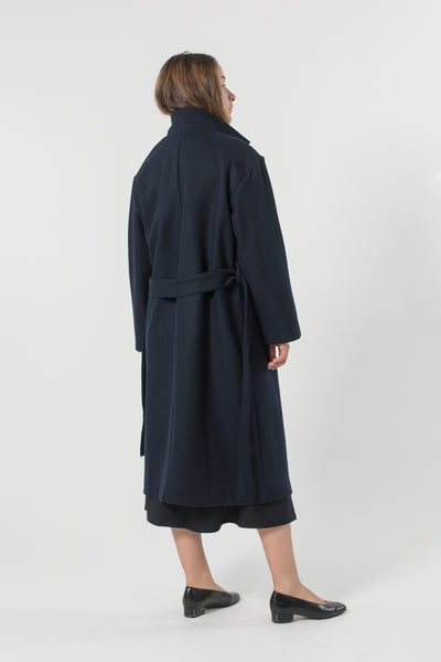 AUSTRALIAN WOOL MELTON TRENCH MIDNIGHT