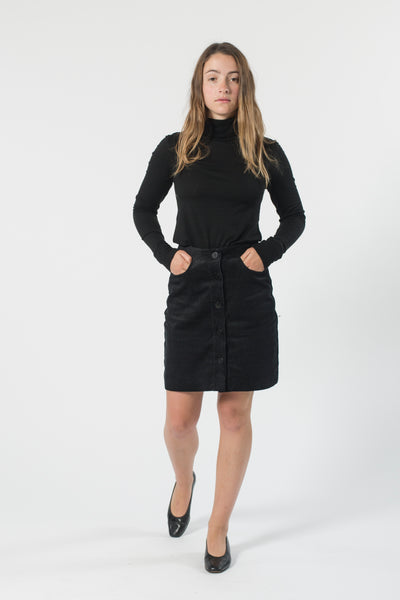 HEMP CORDUROY BUTTON SKIRT