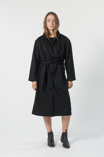 AUSTRALIAN WOOL MELTON TRENCH BLACK