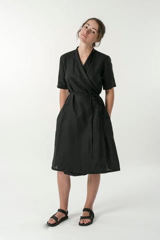 HEMP LINEN SHORT SLEEVE WRAP DRESS