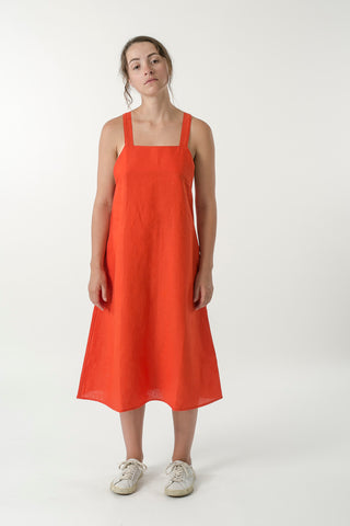 HEMP LINEN APRON DRESS