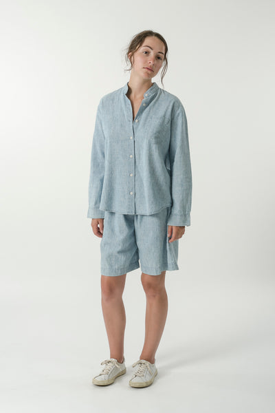 HEMP DENIM MANDARIN COLLAR TRAVEL SHIRT