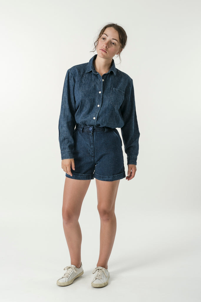WOMENS HEMP DENIM CLASSIC COLLAR TRAVEL SHIRT