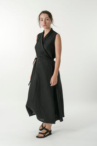 HEMP LINEN SLEEVELESS WRAP DRESS