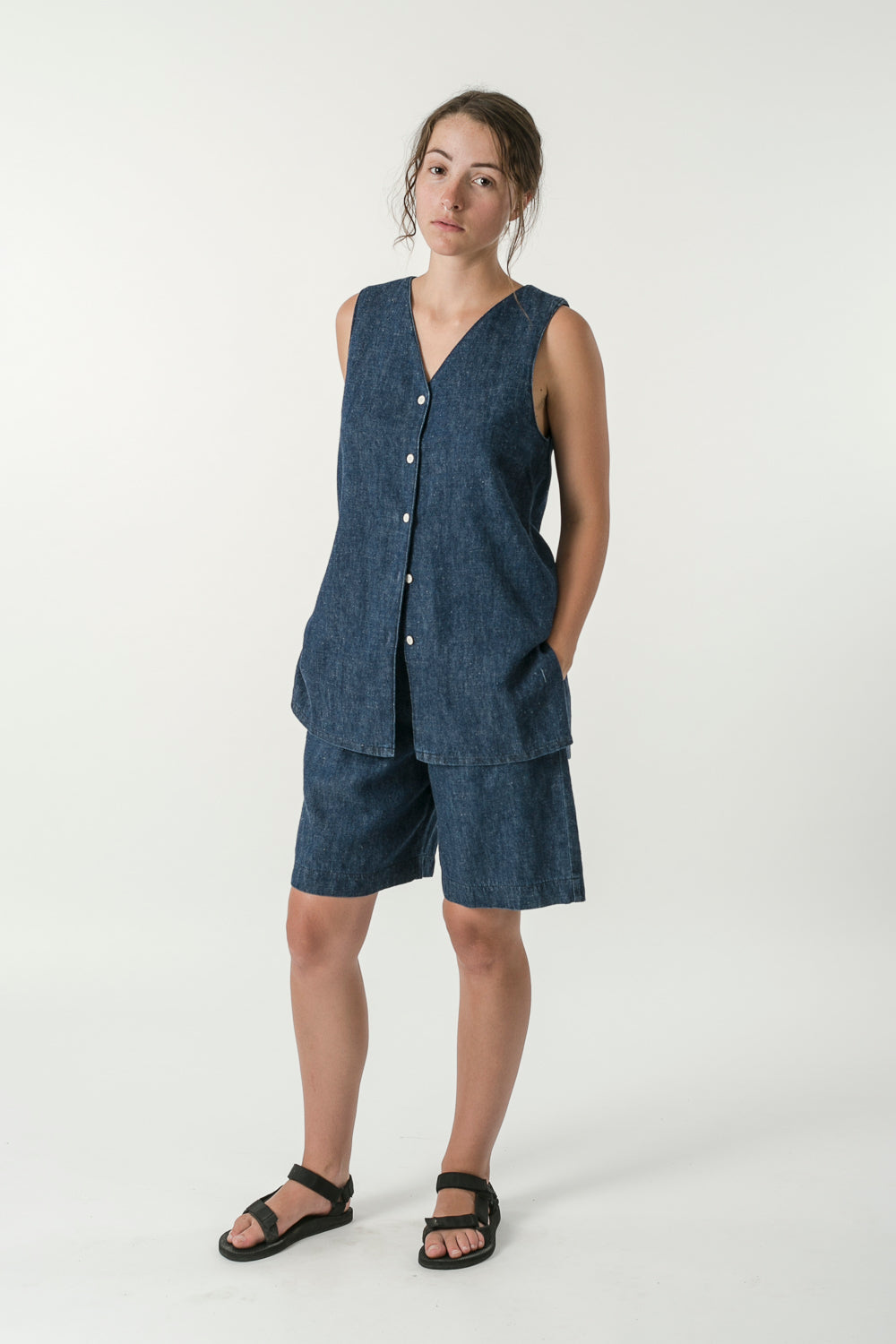 UNISEX HEMP DENIM BOARD SHORTS