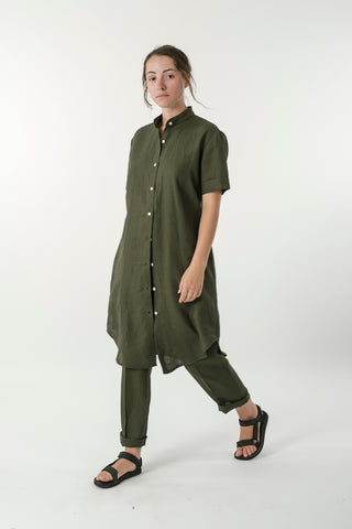 HEMP LINEN SHIRT DRESS