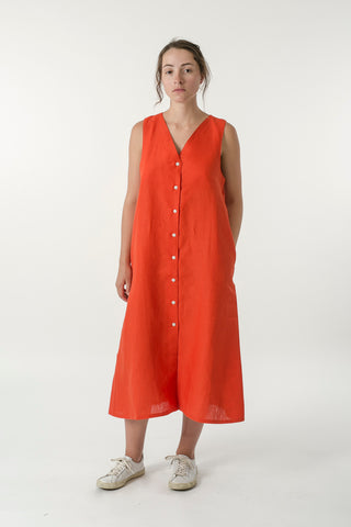 HEMP LINEN BUTTON V DRESS