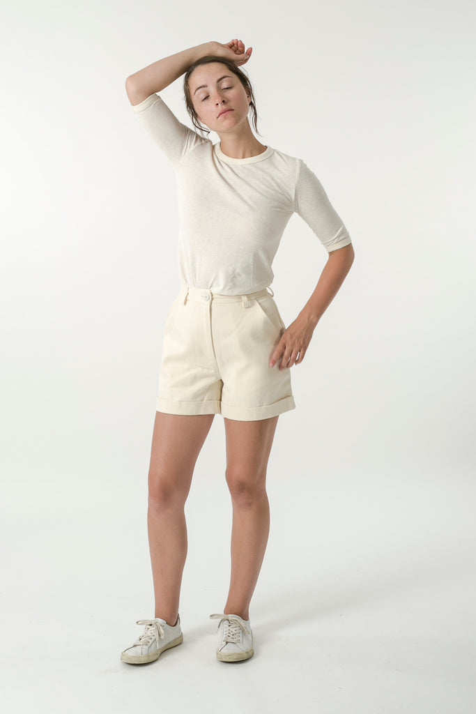 HEMP TWILL HIGH WAIST SHORTS
