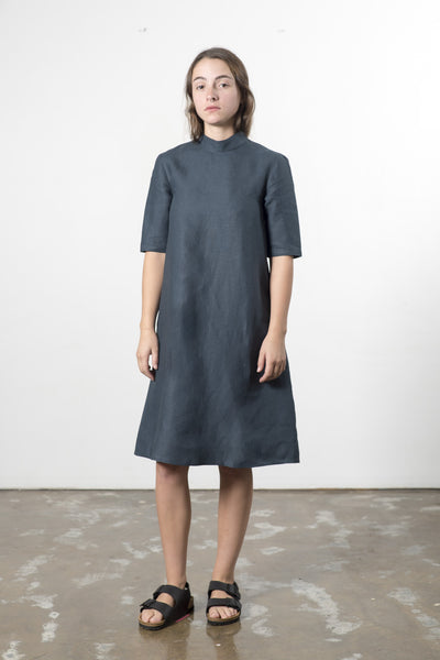HEMP LINEN HIGH NECK DRESS