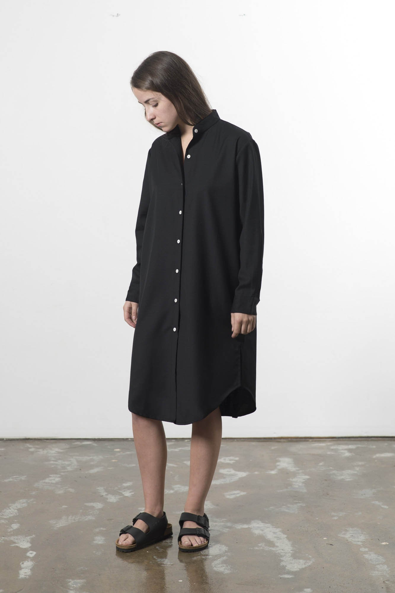 AUSTRALIAN WOOL MANDARIN COLLAR SHIRTDRESS