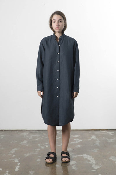 HEMP LINEN MANDARIN COLLAR SHIRTDRESS