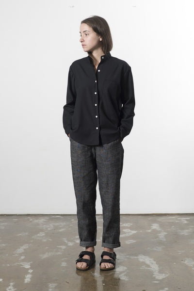HEMP LINEN MANDARIN COLLAR TRAVEL SHIRT