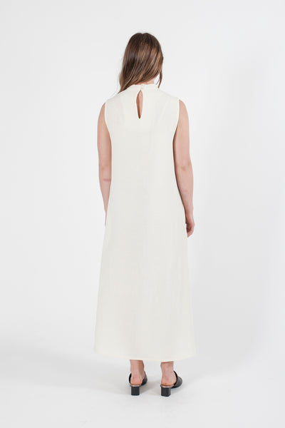 HEMP SILK SLEEVELESS HIGH NECK DRESS