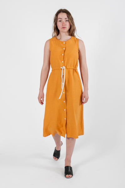 HEMP LINEN DRAWSTRING DRESS