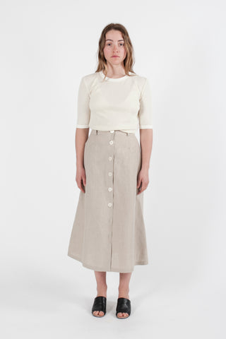 HEMP LINEN BUTTON DOWN SKIRT