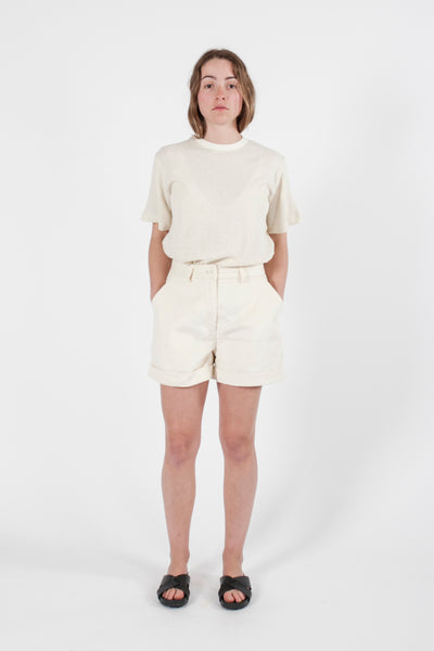HEMP CORDUROY HIGH WAIST SHORTS