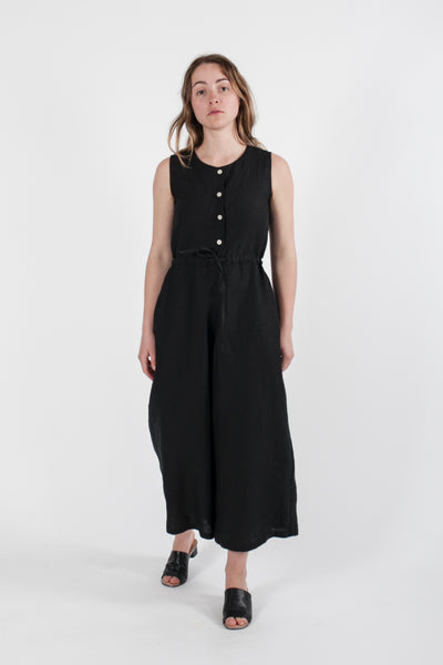 HEMP LINEN DRAWSTRING JUMPSUIT