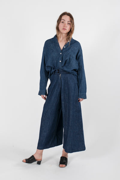 HEMP DENIM WIDE LEG PANT