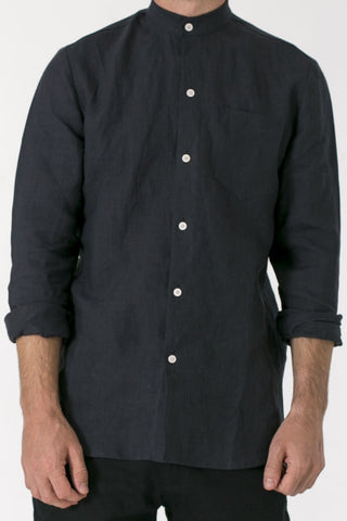 MENS HEMP LINEN MANDARIN COLLAR SHIRT