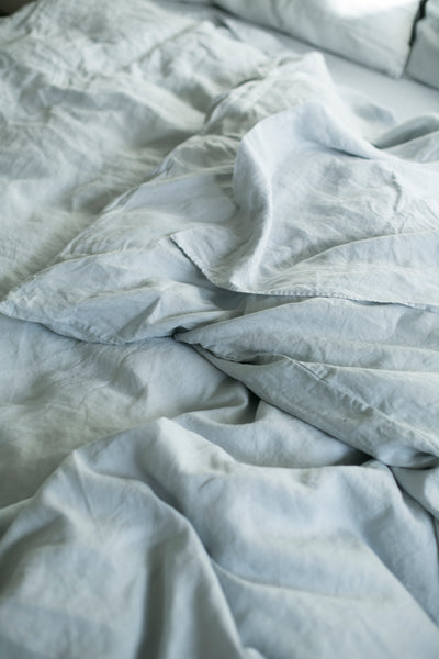 BLUE GREY HEMP LINEN TOP SHEET