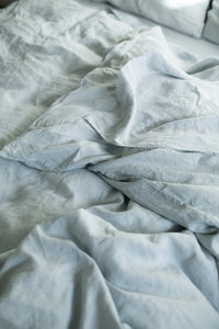BLUE GREY HEMP LINEN QUILT COVER