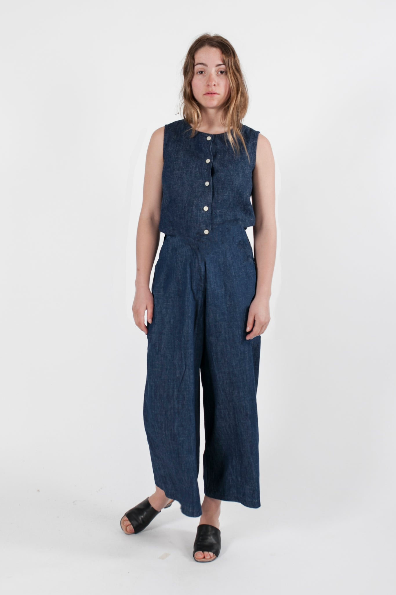 HEMP DENIM DRAWSTRING JUMPSUIT